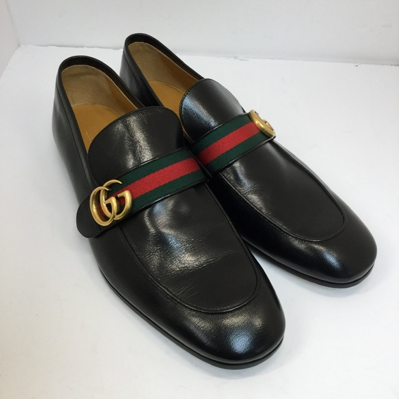 82acc3816bb Mens Gucci Leather Loafer with GG Web - size 11.5